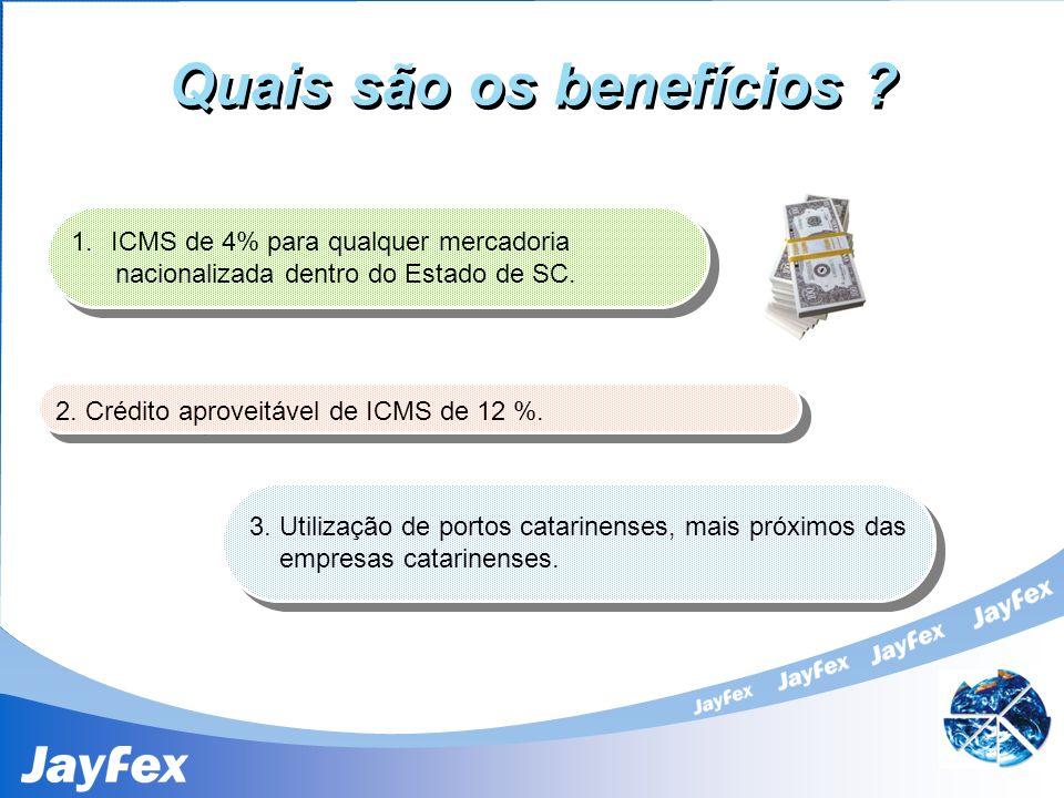 Quais são os benefícios ? 1.ICMS de 4% para qualquer mercadoria nacionalizada dentro do Estado de SC. 1.ICMS de 4% para qualquer mercadoria nacionaliz