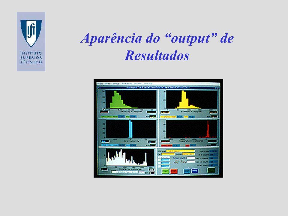 Aparência do output de Resultados