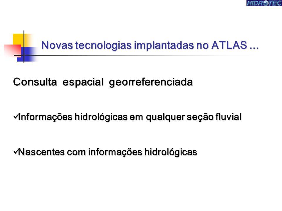 Novas tecnologias implantadas no ATLAS... Consulta espacial georreferenciada Informações hidrológicas em qualquer seção fluvial Informações hidrológic