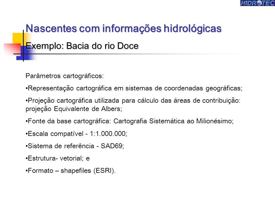Nascentes com informações hidrológicas Exemplo: Bacia do rio Doce As informações hidrológicas foram extraídas dos modelos hidrológicos ajustados nas regiões hidrográficas mineiras, no âmbito do programa HIDROTEC (disponibilizadas no website Atlas Digital das Águas de Minas).