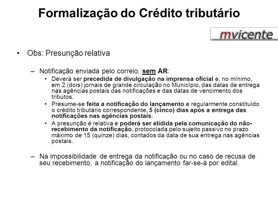 Formalização do Crédito tributário Obs: Presunção relativa –Notificação enviada pelo correio, sem AR: Deverá ser precedida de divulgação na imprensa o