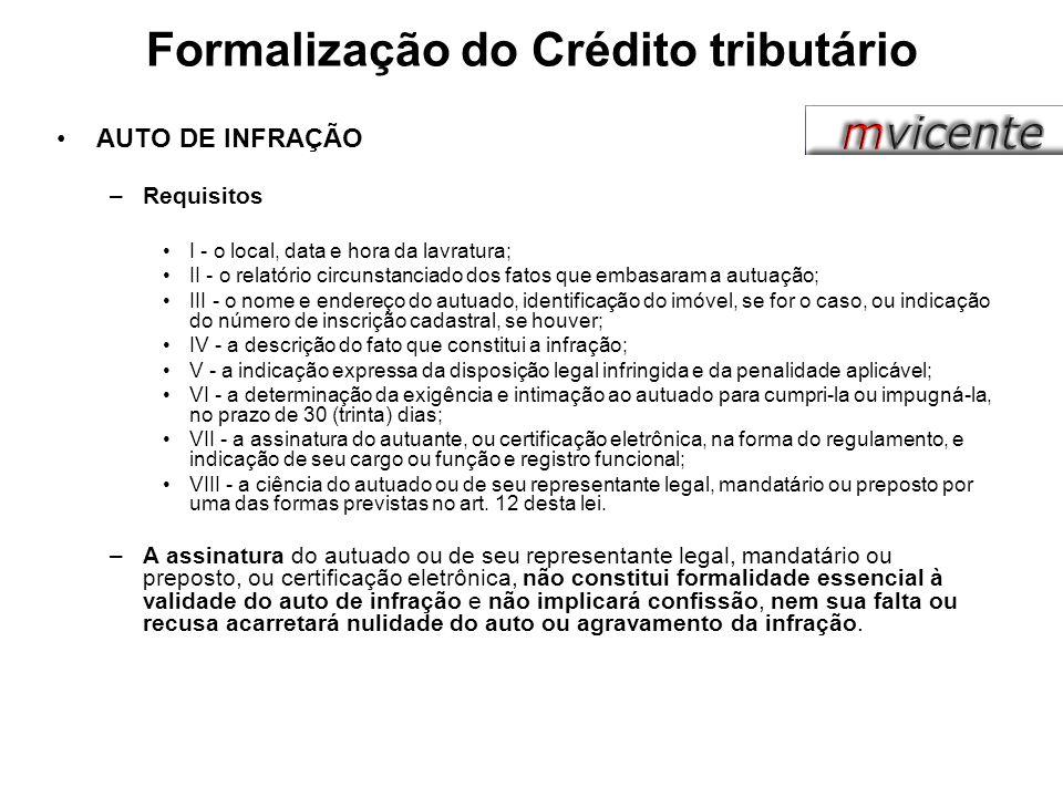 Formalização do Crédito tributário AUTO DE INFRAÇÃO –Requisitos I - o local, data e hora da lavratura; II - o relatório circunstanciado dos fatos que