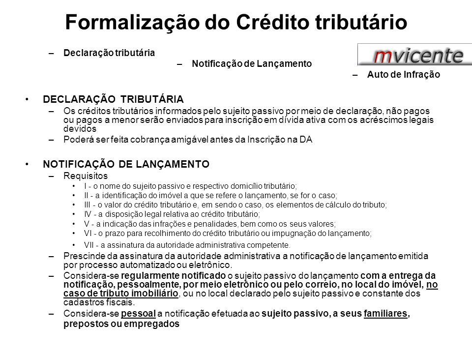 Formalização do Crédito tributário –Declaração tributária –Notificação de Lançamento –Auto de Infração DECLARAÇÃO TRIBUTÁRIA –Os créditos tributários