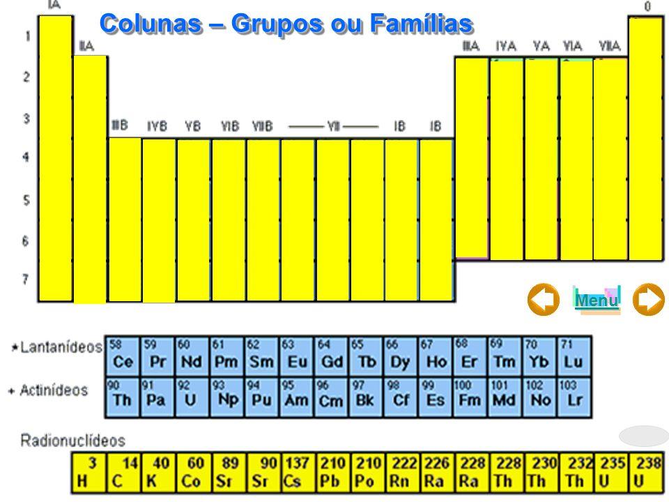 Menu Colunas – Grupos ou Famílias