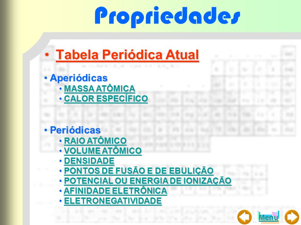 Propriedades Tabela Periódica AtualTabela Periódica Atual AperiódicasAperiódicas MASSA ATÔMICA MASSA ATÔMICAMASSA ATÔMICAMASSA ATÔMICA CALOR ESPECÍFIC