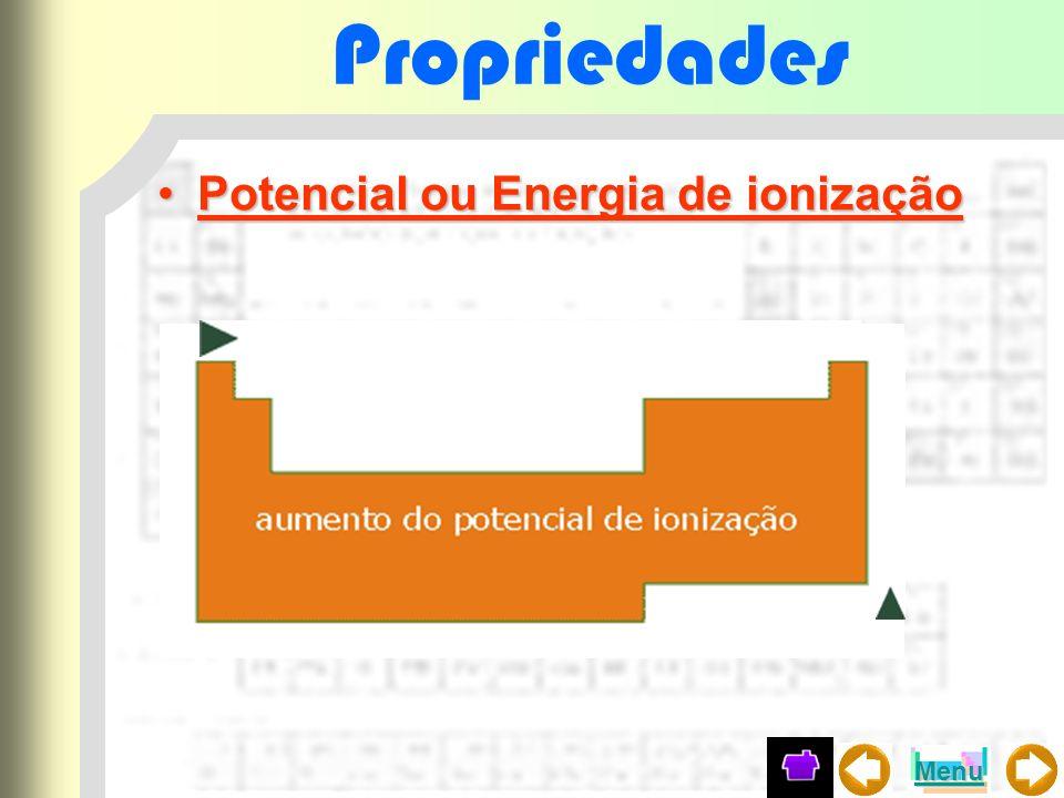 Propriedades Potencial ou Energia de ionizaçãoPotencial ou Energia de ionização Menu