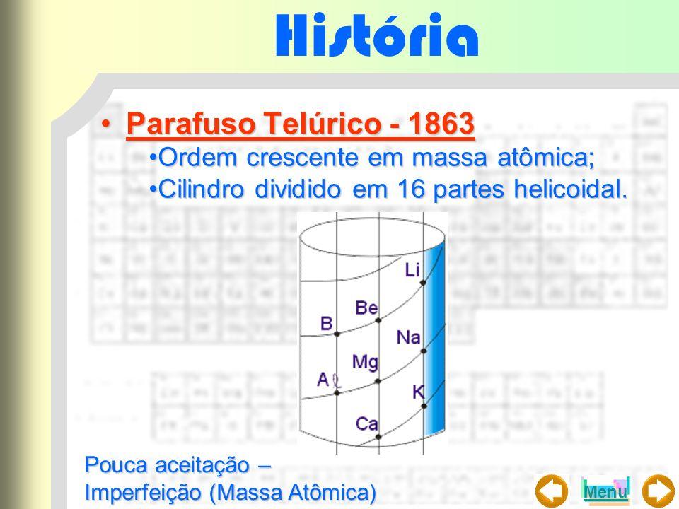 História Parafuso Telúrico - 1863Parafuso Telúrico - 1863 Ordem crescente em massa atômica;Ordem crescente em massa atômica; Cilindro dividido em 16 p