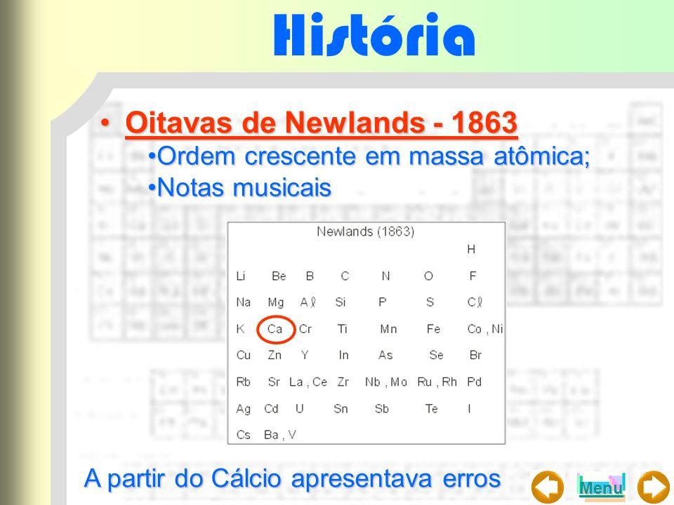 História Demitri Mendeleyeve e Lothar Meyer - 1869Demitri Mendeleyeve e Lothar Meyer - 1869 Ordem crescente em massa atômica;Ordem crescente em massa atômica; A tabela de Mendeleyev por ser mais completa foi mais aceita;A tabela de Mendeleyev por ser mais completa foi mais aceita; Tabela dividida em 12 linhas (massa atômica) e 8 colunas (pro- priedades semelhantes;Tabela dividida em 12 linhas (massa atômica) e 8 colunas (pro- priedades semelhantes; Espaço vazios que posteriormente foram preenchidos.Espaço vazios que posteriormente foram preenchidos.