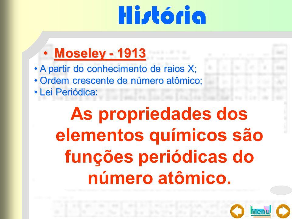 História Moseley - 1913Moseley - 1913 A partir do conhecimento de raios X;A partir do conhecimento de raios X; Ordem crescente de número atômico;Ordem
