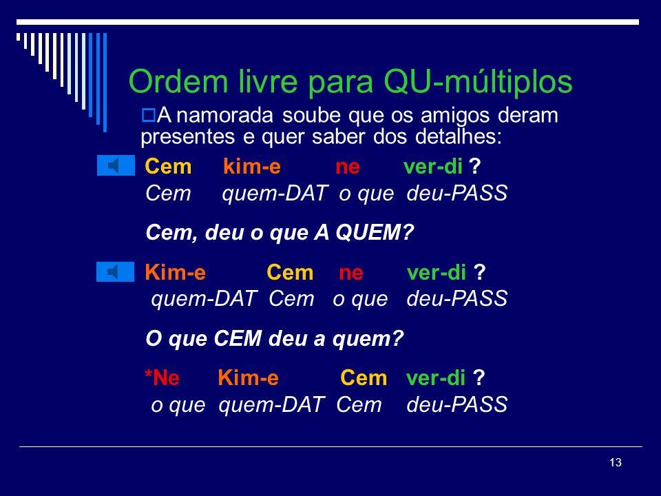 12 Ordem livre para QU- : Cem neden git-ti .Cem porque foi-PASS PORQUE Cem foi.