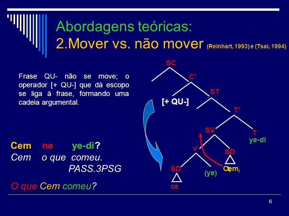 6 Abordagens teóricas: 2.Mover vs.