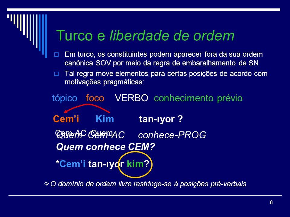 7 Abordagens teóricas: 3.Movimento do traço (Watanabe, 1992) T ST C SC (ye) v SV ne ye-di T SD [+ QU-] Cem ne ye-di.