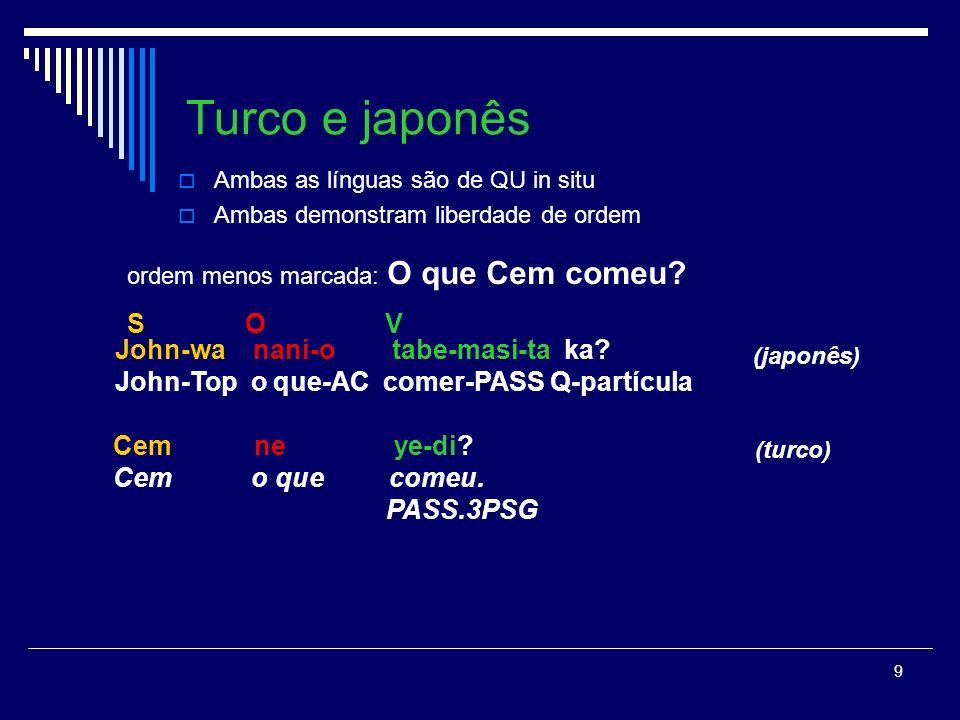 9 Turco e japonês Ambas as línguas são de QU in situ Ambas demonstram liberdade de ordem (japonês) (turco) John-wa nani-o tabe-masi-ta ka.