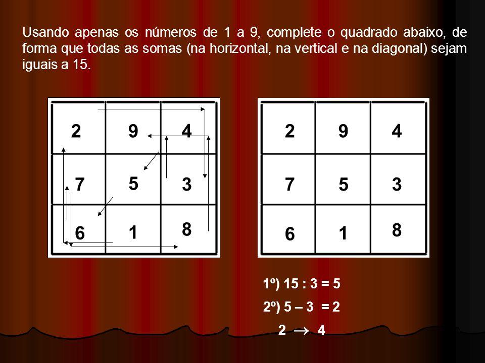 DESAFIO: Usando apenas os números de 1 a 9, complete o quadrado abaixo, de forma que todas as somas (na horizontal, na vertical e na diagonal) sejam i