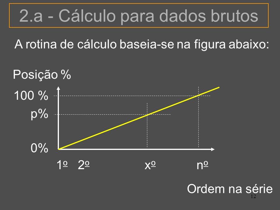 12 2.a - Cálculo para dados brutos A rotina de cálculo baseia-se na figura abaixo: Ordem na série Posição % 1 o 2 o x o n o 100 % p% 0%