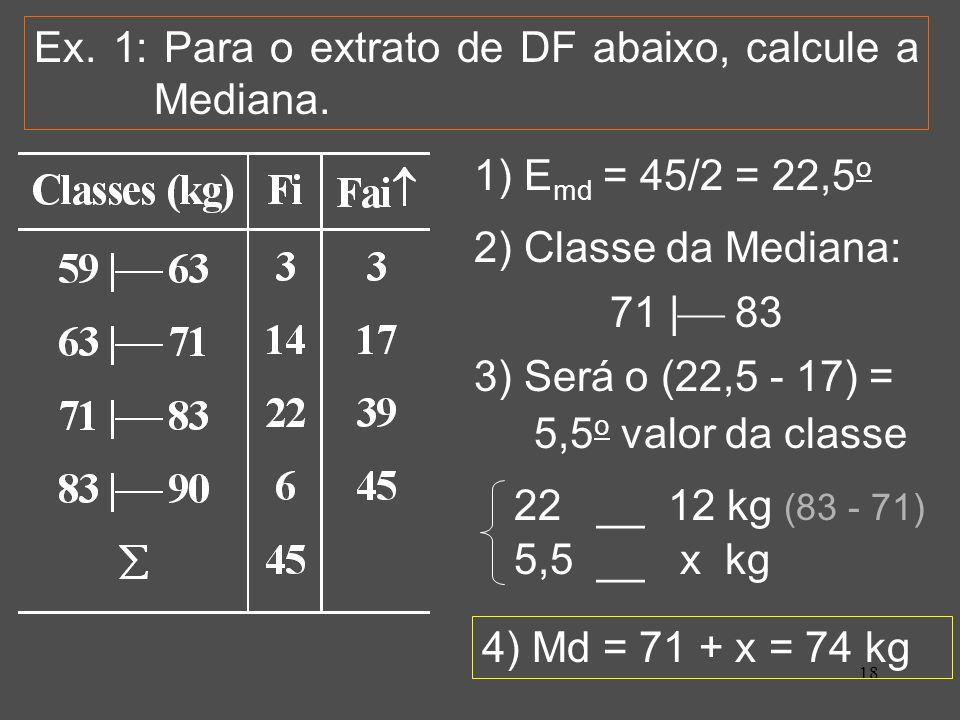 18 Ex. 1: Para o extrato de DF abaixo, calcule a Mediana. 1) E md = 45/2 = 22,5 o 2) Classe da Mediana: 71 | 83 3) Será o (22,5 - 17) = 5,5 o valor da