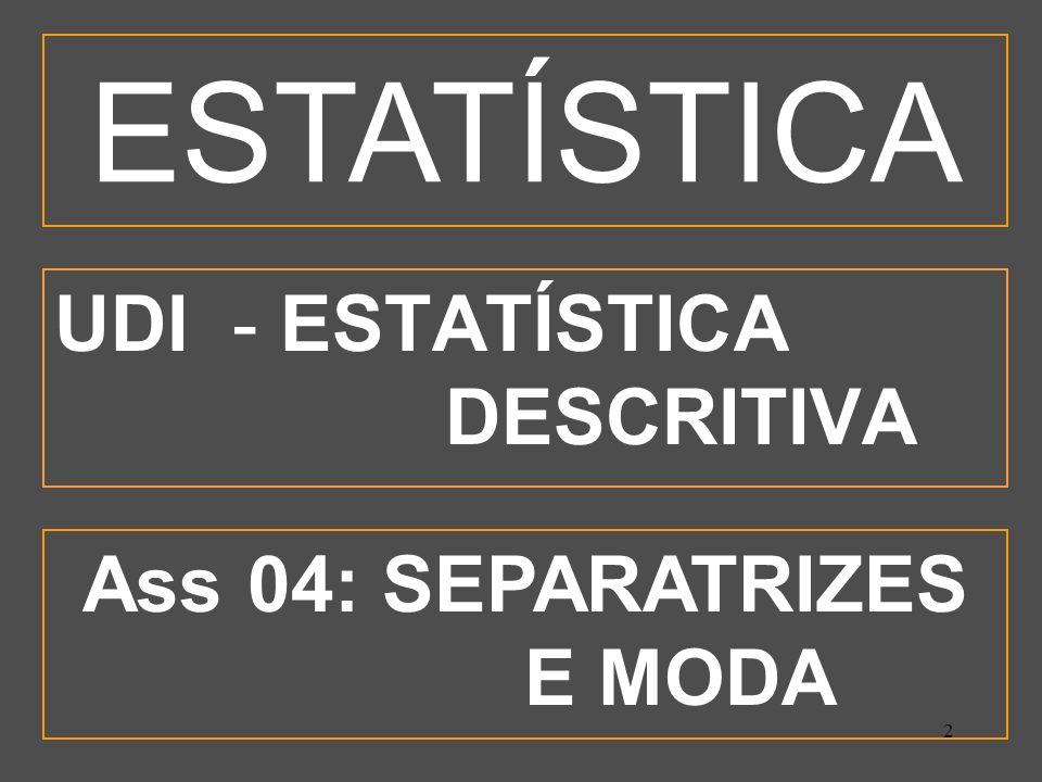 3 OBJETIVOS ESPECÍFICOS Calcular as principais separatrizes; Calcular a Moda Bruta; Interpretar as principais separatrizes; Calcular a moda de DF pelos critérios de Czuber e Pearson; Comparar graficamente os valores da Média, da Mediana e da Moda; Utilizar-se de dados estatísticos na tomada de decisão.