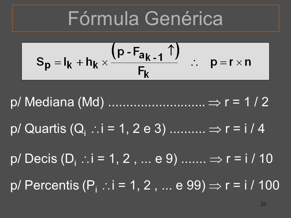 20 Fórmula Genérica p/ Quartis (Q i i = 1, 2 e 3).......... r = i / 4 p/ Decis (D i i = 1, 2,... e 9)....... r = i / 10 p/ Percentis (P i i = 1, 2,...