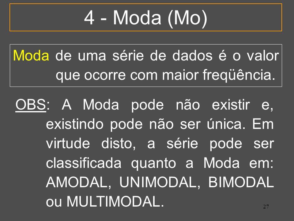 27 4 - Moda (Mo) Moda de uma série de dados é o valor que ocorre com maior freqüência. OBS: A Moda pode não existir e, existindo pode não ser única. E