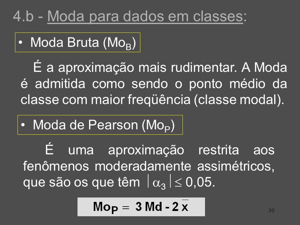 30 4.b - Moda para dados em classes: Moda Bruta (Mo B ) Moda de Pearson (Mo P ) É a aproximação mais rudimentar. A Moda é admitida como sendo o ponto