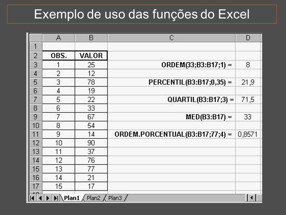 38 Exemplo de uso das funções do Excel