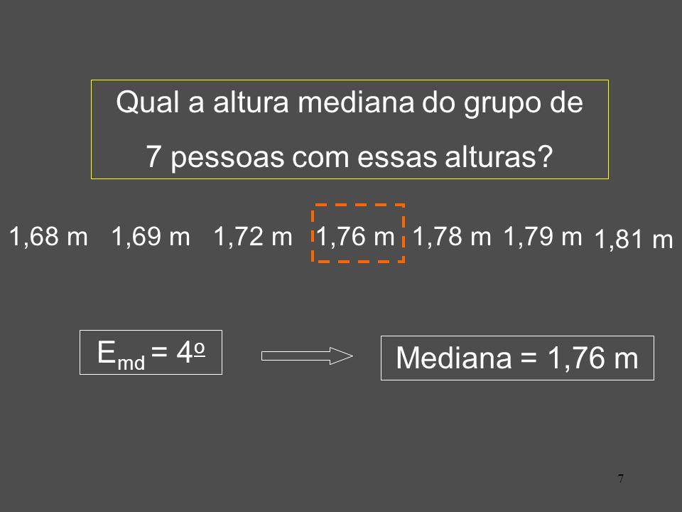 28 4 - Moda (Mo) 4.a - Moda para dados brutos: Neste caso a Moda é obtida por observação direta da série ou com o uso de planilhas eletrônicas (para grandes massas de dados).
