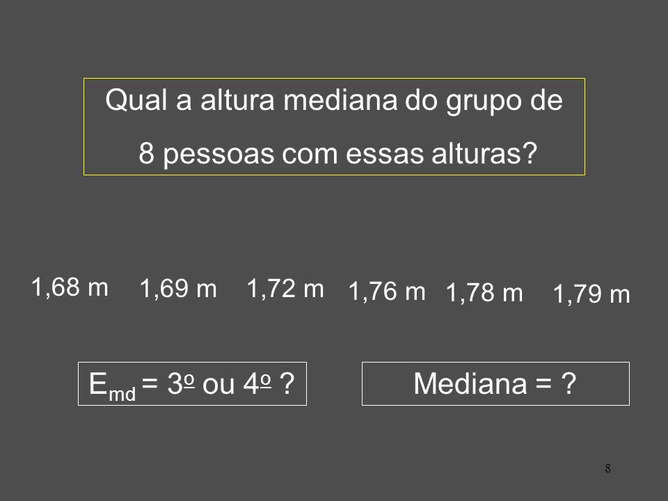 8 1,68 m 1,69 m1,72 m 1,76 m 1,78 m 1,79 m E md = 3 o ou 4 o ?Mediana = ? Qual a altura mediana do grupo de 8 pessoas com essas alturas?