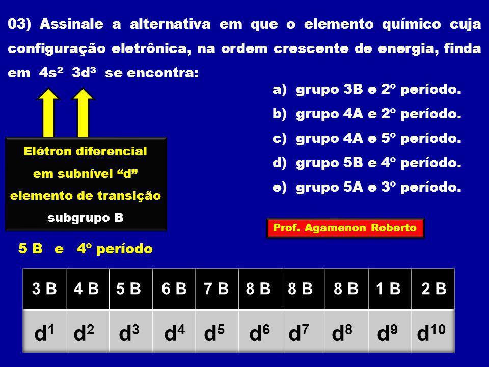 03) Assinale a alternativa em que o elemento químico cuja configuração eletrônica, na ordem crescente de energia, finda em 4s 2 3d 3 se encontra: a) g