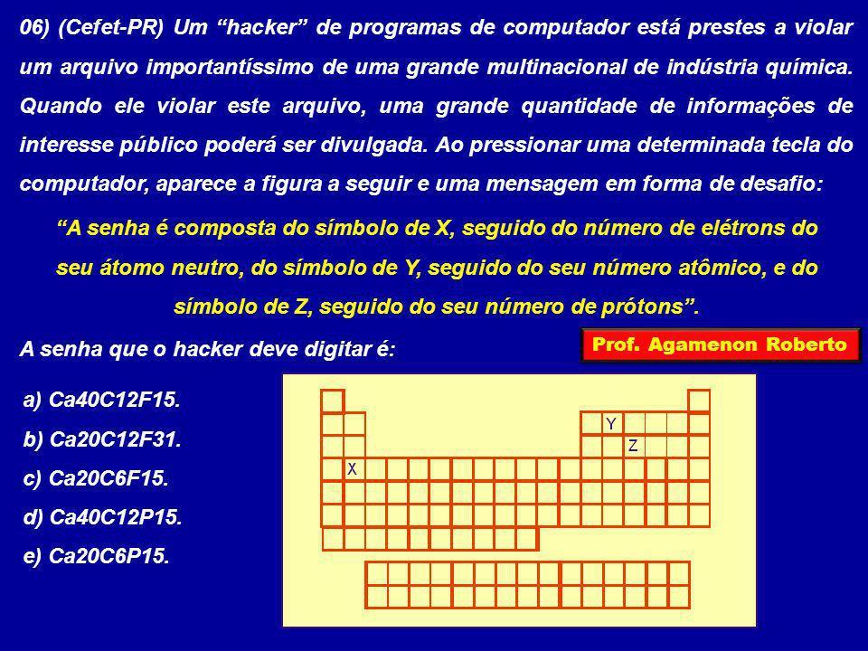 06) (Cefet-PR) Um hacker de programas de computador está prestes a violar um arquivo importantíssimo de uma grande multinacional de indústria química.