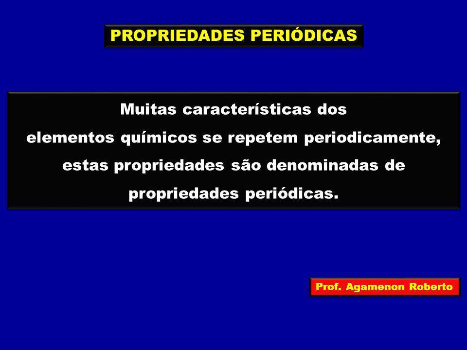PROPRIEDADES PERIÓDICAS Muitas características dos elementos químicos se repetem periodicamente, estas propriedades são denominadas de propriedades pe