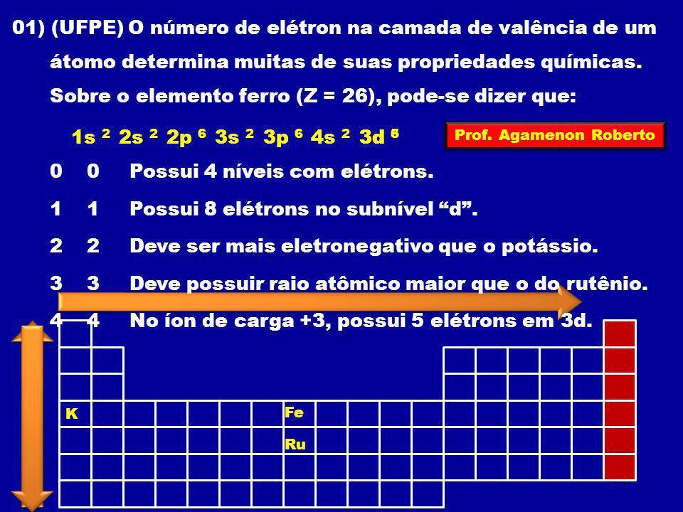 01) (UFPE) O número de elétron na camada de valência de um átomo determina muitas de suas propriedades químicas. Sobre o elemento ferro (Z = 26), pode