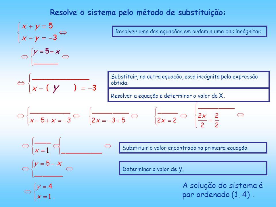 Resolve o sistema pelo método de substituição: A solução do sistema é par ordenado (1, 4).