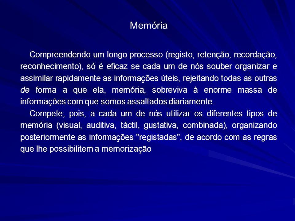 Memória Compreendendo um longo processo (registo, retenção, recordação, reconhecimento), só é eficaz se cada um de nós souber organizar e assimilar ra