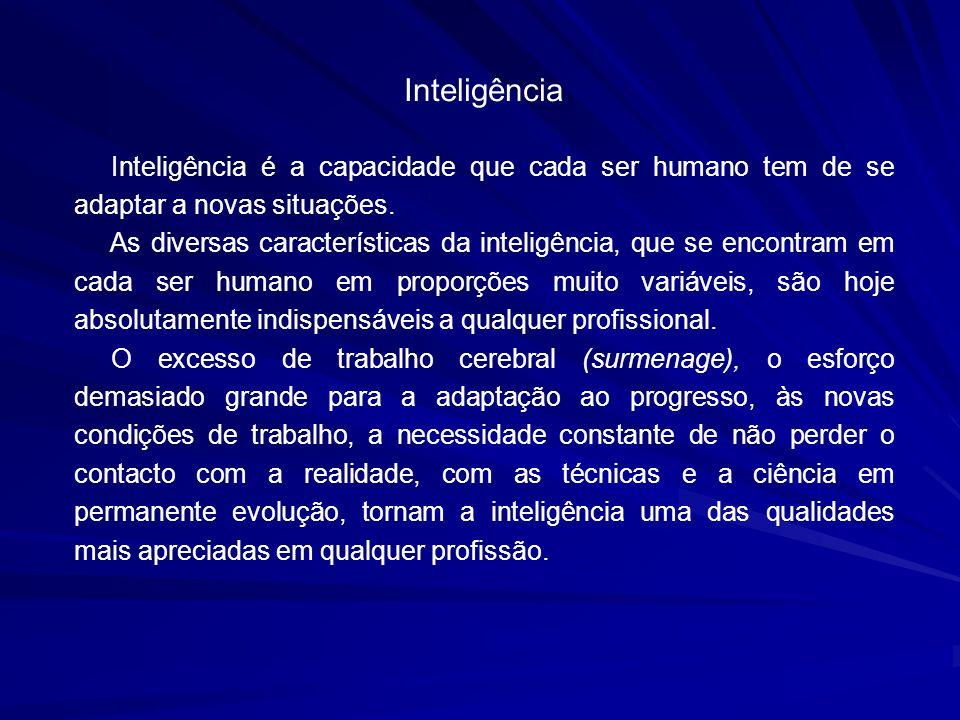 Inteligência Inteligência é a capacidade que cada ser humano tem de se adaptar a novas situações. As diversas características da inteligência, que se