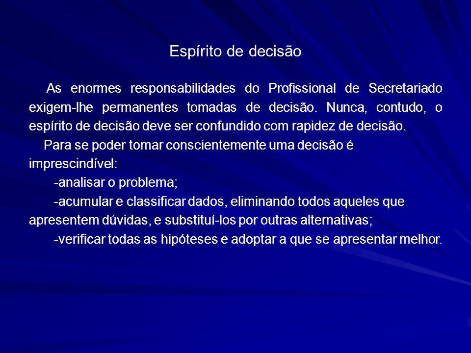 Espírito de decisão As enormes responsabilidades do Profissional de Secretariado exigem-lhe permanentes tomadas de decisão. Nunca, contudo, o espírito