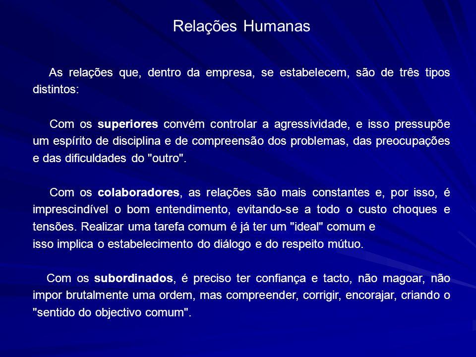 Relações Humanas As relações que, dentro da empresa, se estabelecem, são de três tipos distintos: Com os superiores convém controlar a agressividade,