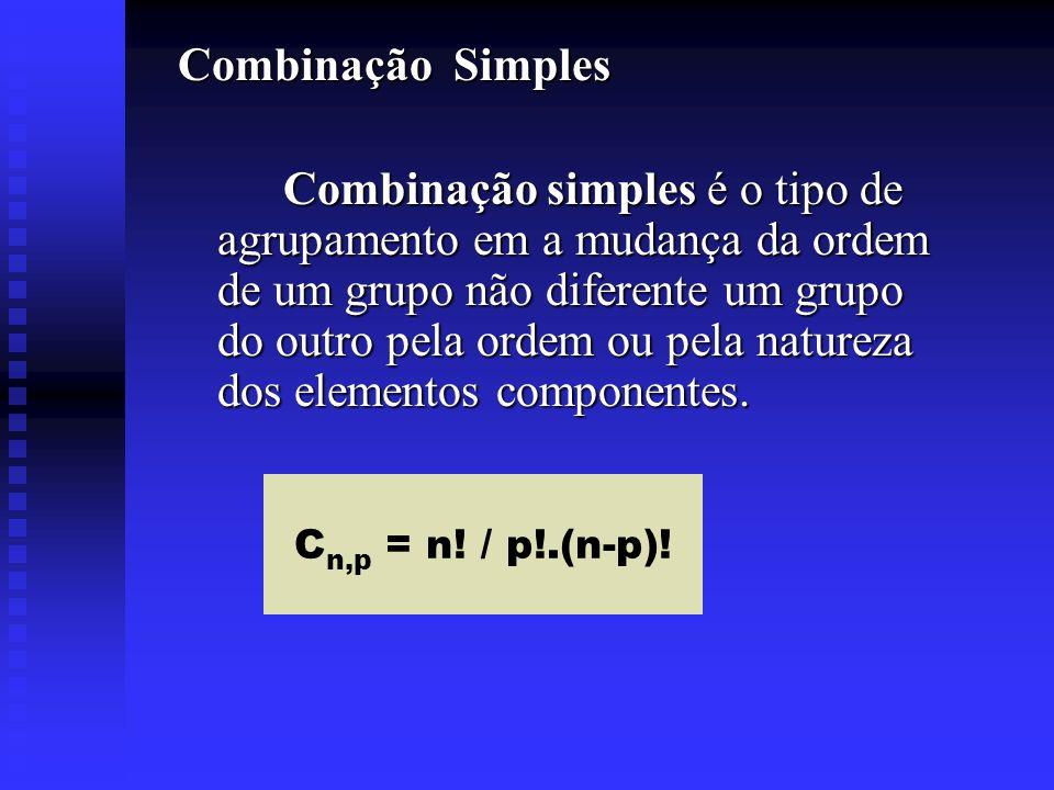 Combinação Simples Combinação simples é o tipo de agrupamento em a mudança da ordem de um grupo não diferente um grupo do outro pela ordem ou pela nat