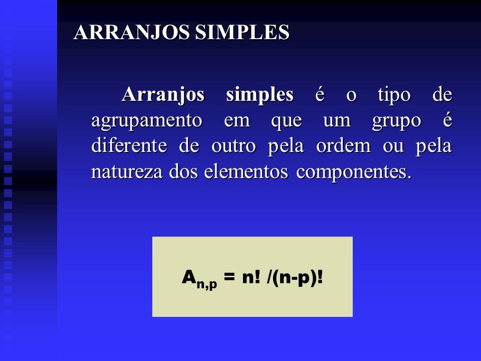ARRANJOS SIMPLES Arranjos simples é o tipo de agrupamento em que um grupo é diferente de outro pela ordem ou pela natureza dos elementos componentes.