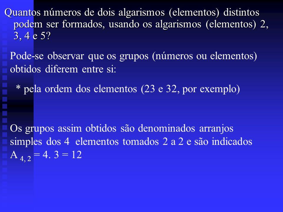 Quantos números de dois algarismos (elementos) distintos podem ser formados, usando os algarismos (elementos) 2, 3, 4 e 5? Quantos números de dois al