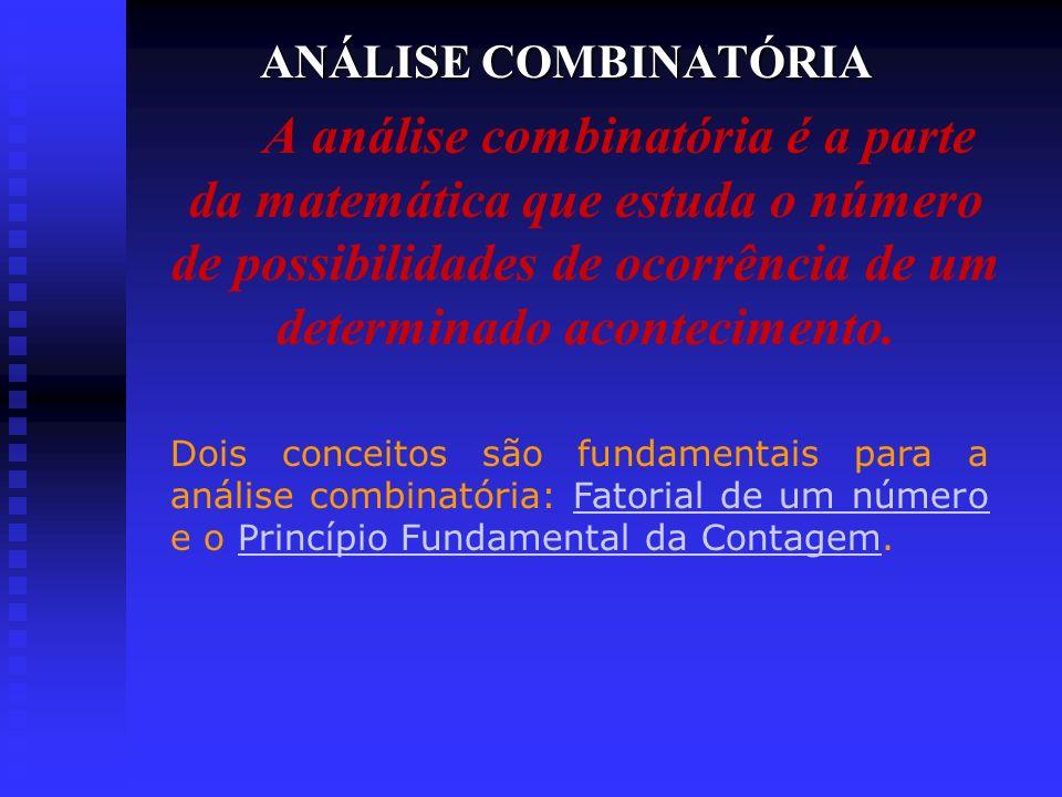 ANÁLISE COMBINATÓRIA A análise combinatória é a parte da matemática que estuda o número de possibilidades de ocorrência de um determinado aconteciment