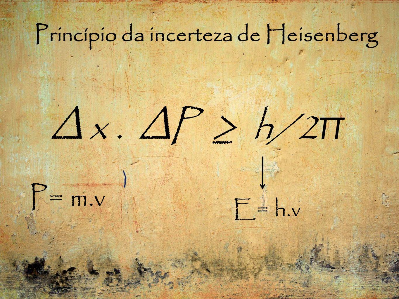 Princípio da incerteza de Heisenberg x. P h/2 π P= m.v E= h.v