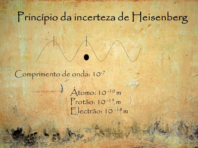 Princípio da incerteza de Heisenberg Comprimento de onda: 10 -7 Átomo: 10 -10 m Protão: 10 -15 m Electrão: 10 -18 m