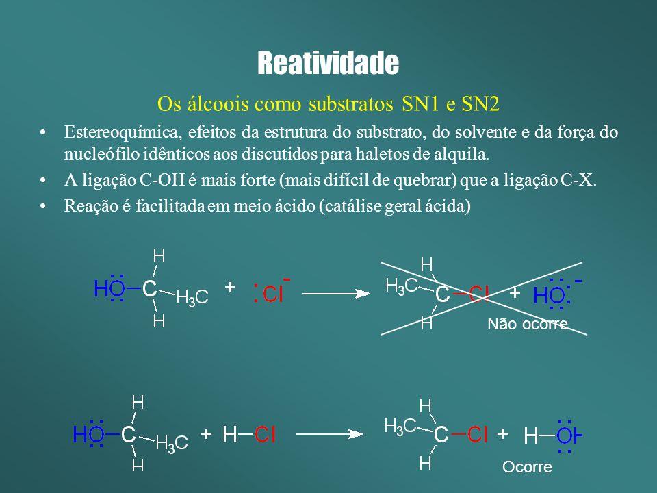 Reatividade Os álcoois como substratos SN1 e SN2 Catálise Geral Ácida A protonação do grupamento –OH gera um excelente grupo de saída, facilitando e acelerando a reação.