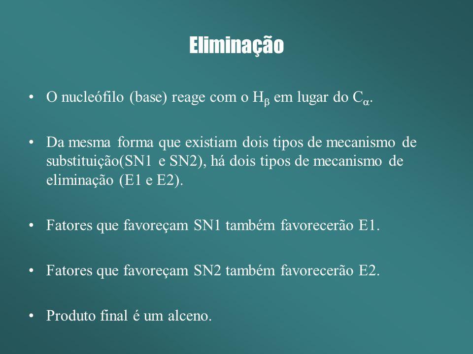 Eliminação Eliminação Bimoleular (E2) Ocorre em uma única etapa, sem a formação de intermediário carbocatiônico.