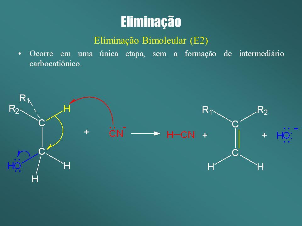 Eliminação Eliminação Bimoleular (E1) Ocorre em duas etapas, com a formação de intermediário carbocatiônico.