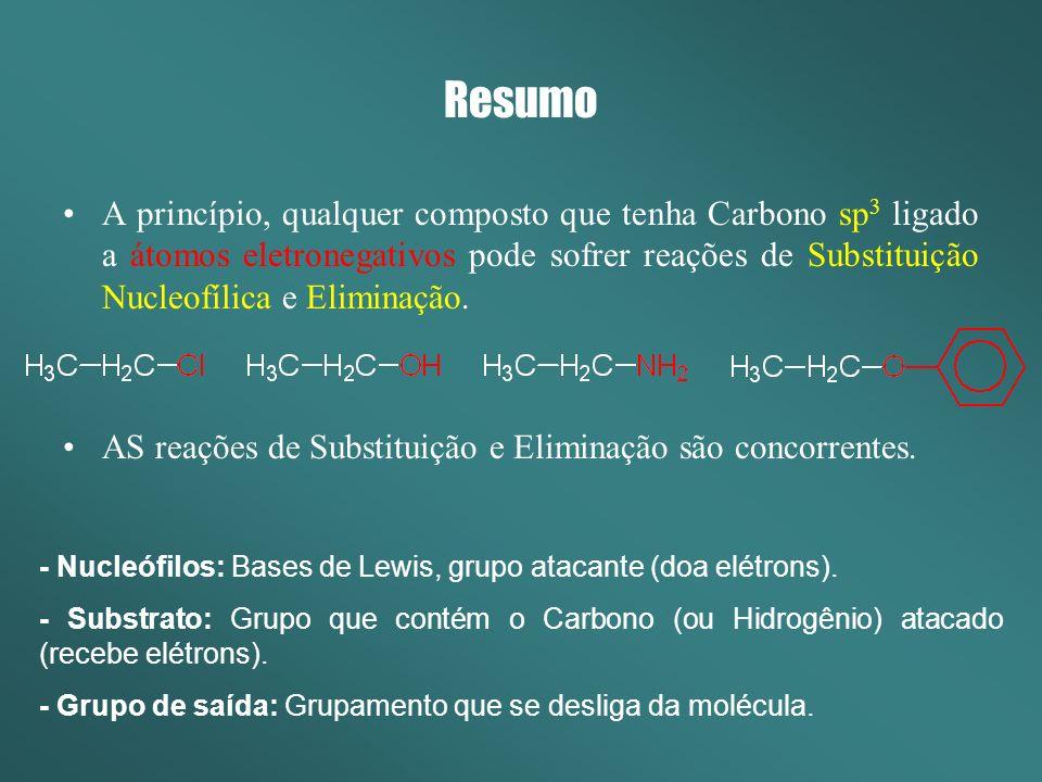 Resumo SN2 e E2 Ocorre em uma única etapa Não se formam intermediários carregados SN2 - O ataque do nucleófilo é sobre o carbono alfa (C ).