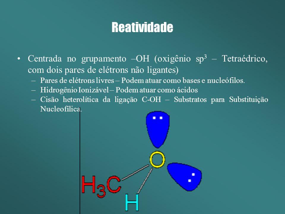 Reatividade Os álcoois como ácidos e bases (nucleófilos) Ácidos Bases - Grupos retiradores de elétrons diminuem a basicidade (aumentam a acidez).