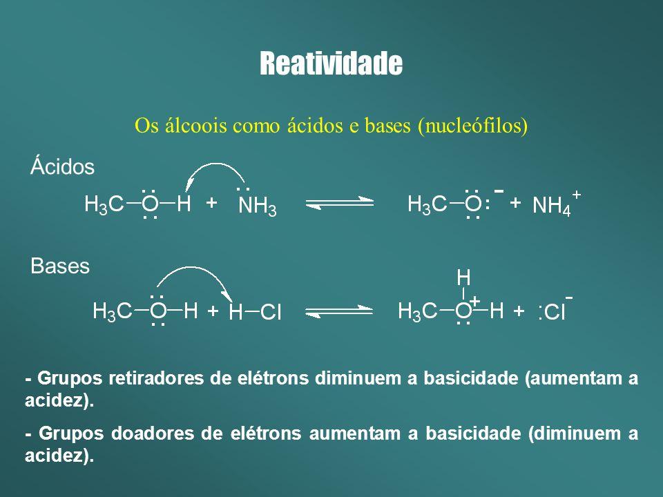 Reatividade Os álcoois como ácidos e bases (nucleófilos) Qual a ordem de basicidade.