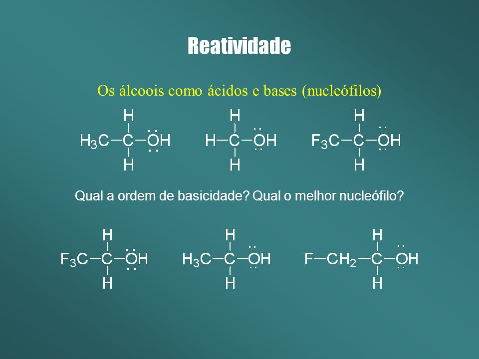 Reatividade Os alcóxidos Originam-se da reação de álcoois com bases muito fortes (metais dos grupos 1A e 2A).