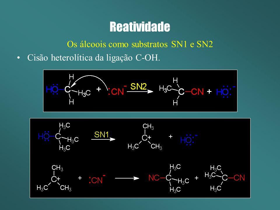 Reatividade Os álcoois como substratos SN1 e SN2 Estereoquímica, efeitos da estrutura do substrato, do solvente e da força do nucleófilo idênticos aos discutidos para haletos de alquila.